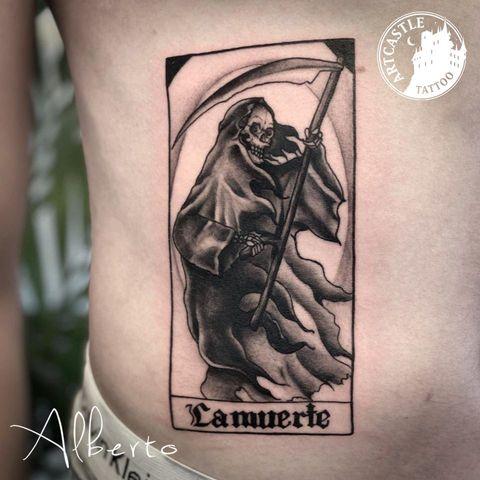 ArtCastleTattoo Tattoo ArtiestAlberto Grim reaper on stomach Black n Grey Black n Grey