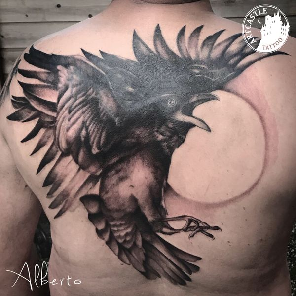 ArtCastleTattoo Tattoo ArtiestAlberto Raven on back Black n Grey Black n Grey