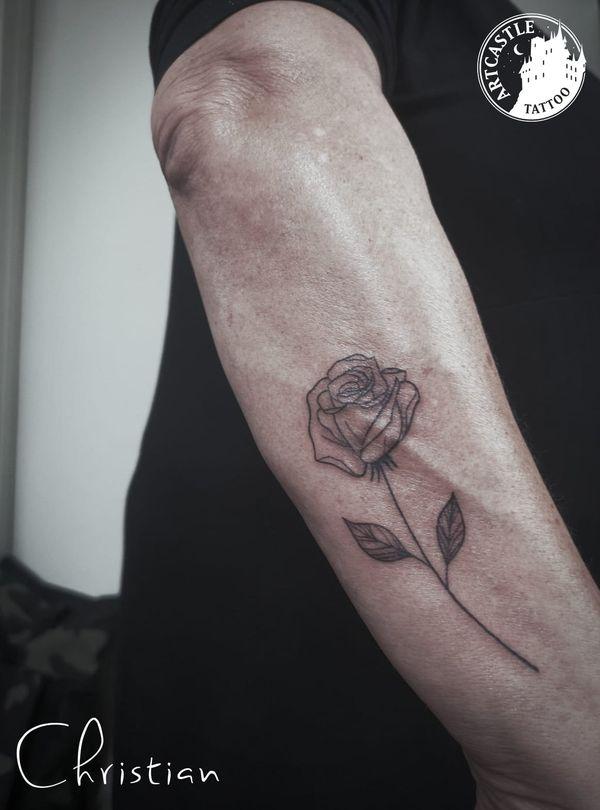 ArtCastleTattoo Tattoo ArtiestChristian Rose lower arm Fineline