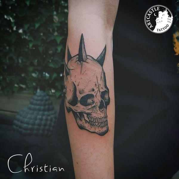 ArtCastleTattoo Tattoo ArtiestChristian Skull on arm Blackwork Blackwork