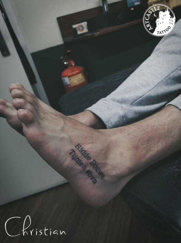 ArtCastleTattoo Tattoo ArtiestChristian foot Lettering
