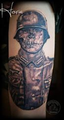ArtCastleTattoo Tattoo ArtiestHoria Black n grey dead soldier tattoo realistic Black n Grey