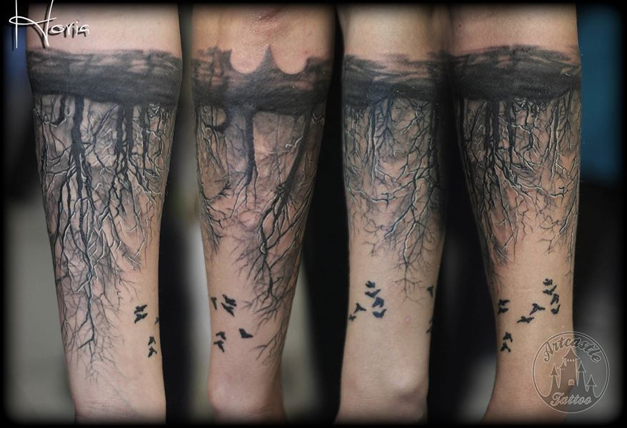 ArtCastleTattoo Tattoo ArtiestHoria Black n grey forest tattoo on lower arm with birds Black n Grey