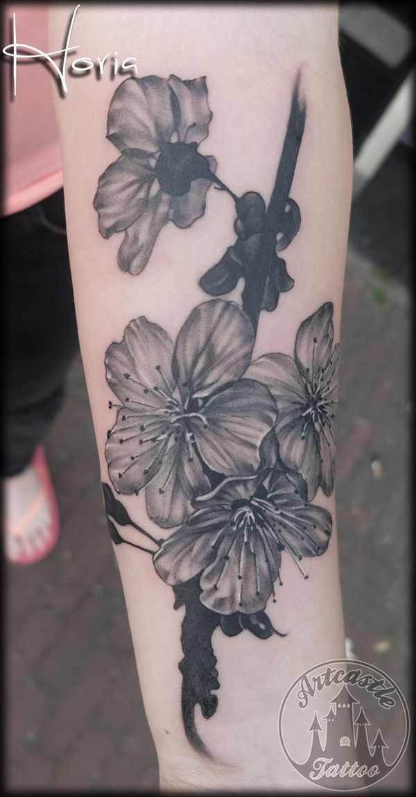 ArtCastleTattoo Tattoo ArtiestHoria Black n grey realistic cherry blossom tattoo on lower arm Black n Grey
