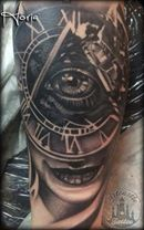 ArtCastleTattoo Tattoo ArtiestHoria Girl with Illuminati eye and Clock black n grey surrealism tattoo Black n Grey