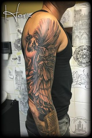 ArtCastleTattoo Tattoo ArtiestHoria Phoenix in black n grey on arm Sleeves