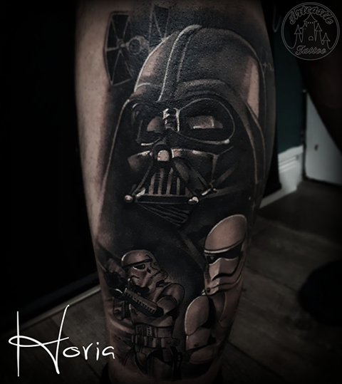 ArtCastleTattoo Tattoo ArtiestHoria Realistic Darth Vader and storm troopers Star Wars tattoo black n grey leg Black n Grey
