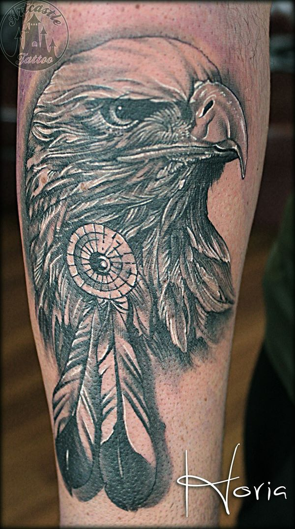 ArtCastleTattoo Tattoo ArtiestHoria Realistic Eagle head tattoo black n grey on arm BlacknGrey