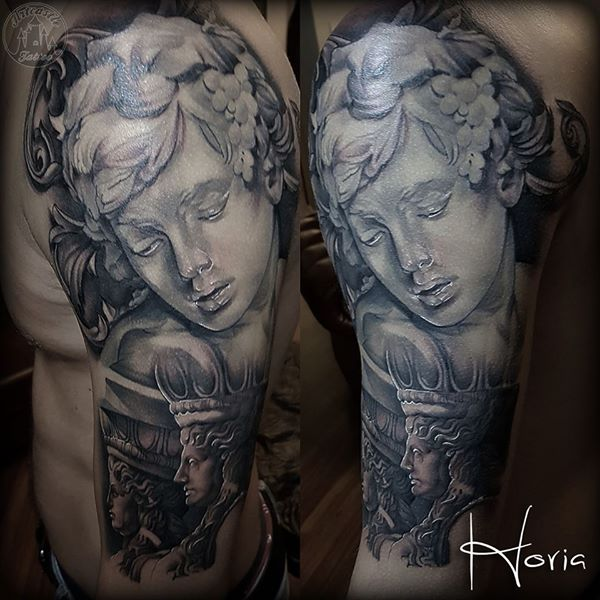 ArtCastleTattoo Tattoo ArtiestHoria Realistic Greek statue sleeve tattoo upper arm black n grey. Sleeves