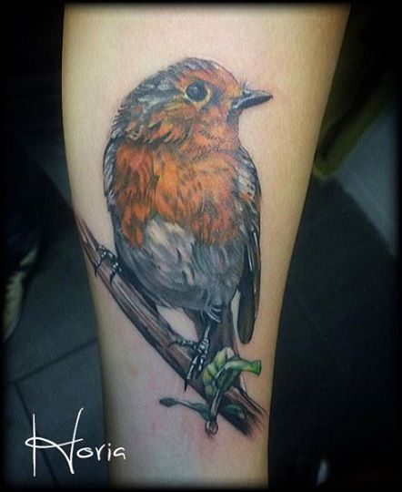 ArtCastleTattoo Tattoo ArtiestHoria Realistic Robin tattoo bird in full color on lower arm Color