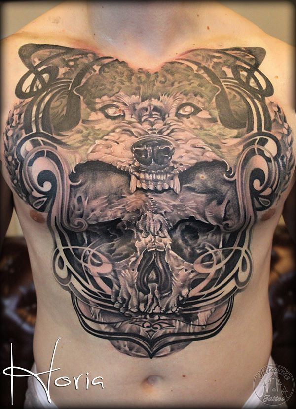 ArtCastleTattoo Tattoo ArtiestHoria Realistic Skull and wolf tattoo chestpiece Black n Grey