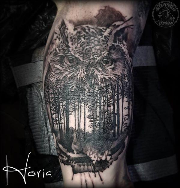 ArtCastleTattoo Tattoo ArtiestHoria Realistic black n grey owl tattoo forest scene inside fusion realism tattoo on inner arm Black n Grey