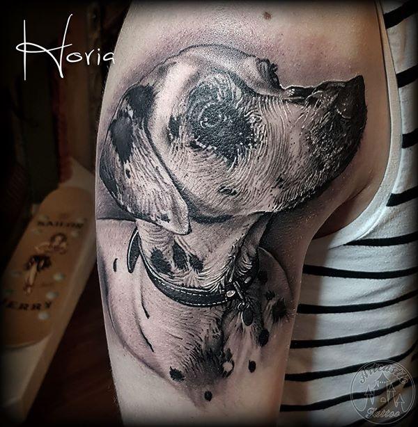 ArtCastleTattoo Tattoo ArtiestHoria Realistic dalmation portrait tattoo pet dog black n grey on upper arm Portraits