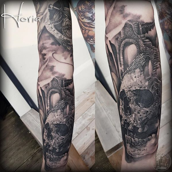 ArtCastleTattoo Tattoo ArtiestHoria Realistic dark skull tattoo with stair ruins sleeve in black n grey lower arm Sleeves