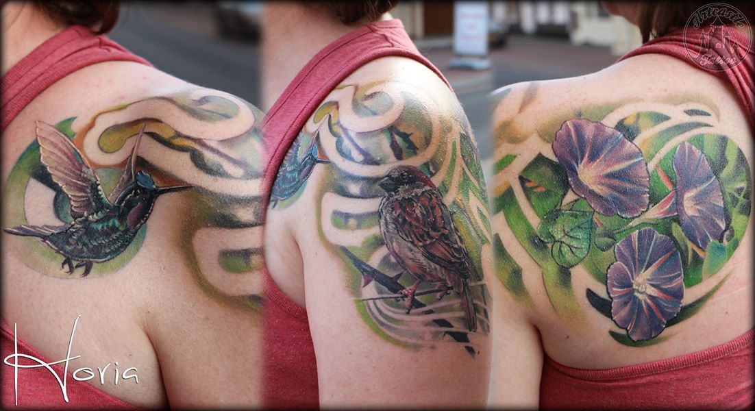 ArtCastleTattoo Tattoo ArtiestHoria Realistic hummingbirds flowers and bird tattoo full color on shoulder Color