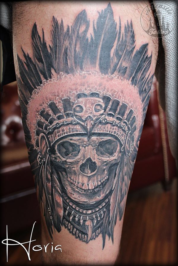 ArtCastleTattoo Tattoo ArtiestHoria Realistic indian skull tattoo black n grey upper leg Black n Grey