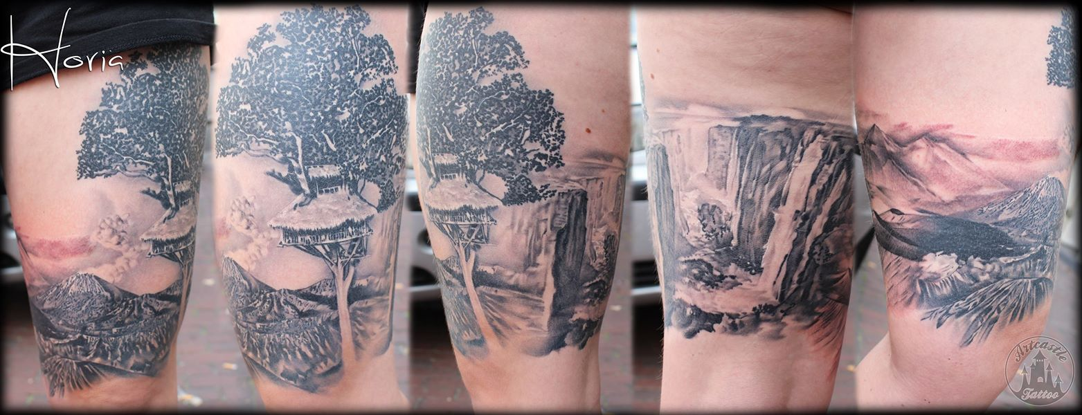 ArtCastleTattoo Tattoo ArtiestHoria Realistic landscape tattoo black n grey upper leg Black n Grey