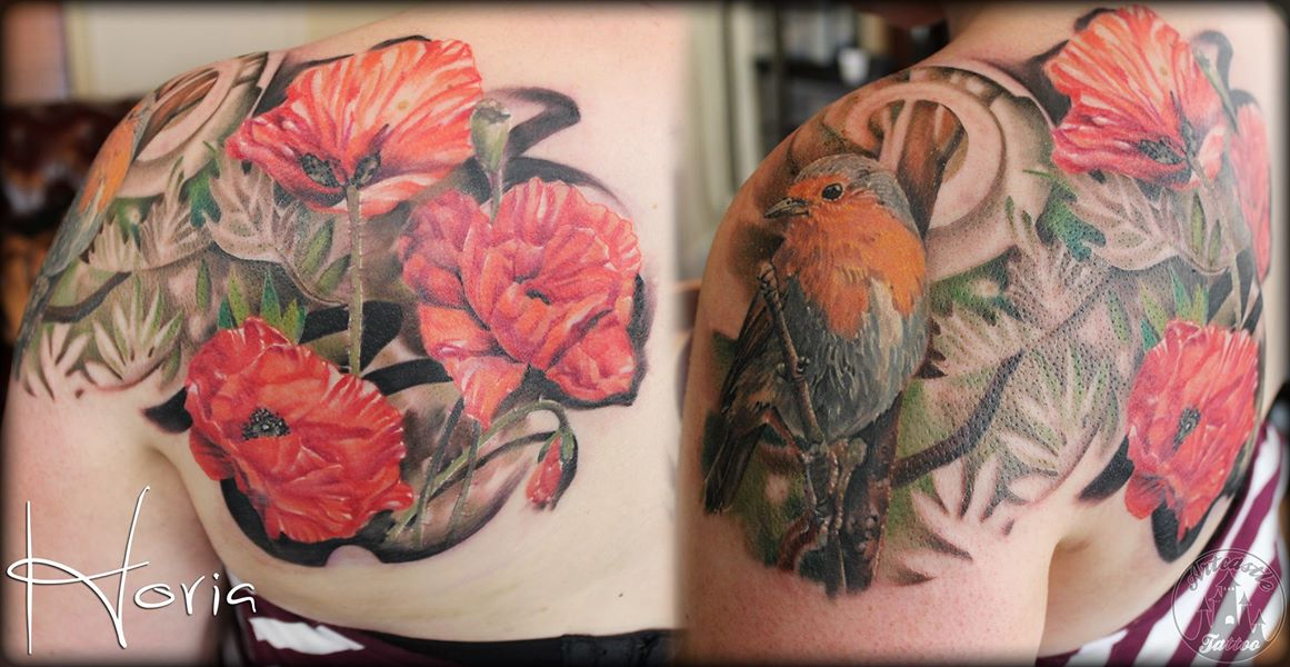 ArtCastleTattoo Tattoo ArtiestHoria Realistic poppy flowers and robin bird tattoo full color on shoulder Color