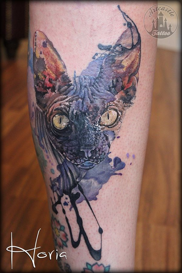 ArtCastleTattoo Tattoo ArtiestHoria Realistic watercolor Sphinx cat tattoo full color Color