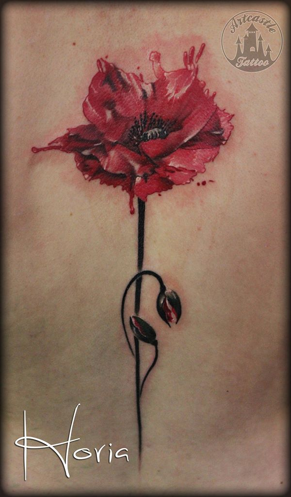 ArtCastleTattoo Tattoo ArtiestHoria Realistic watercolor poppy flower color tattoo Color