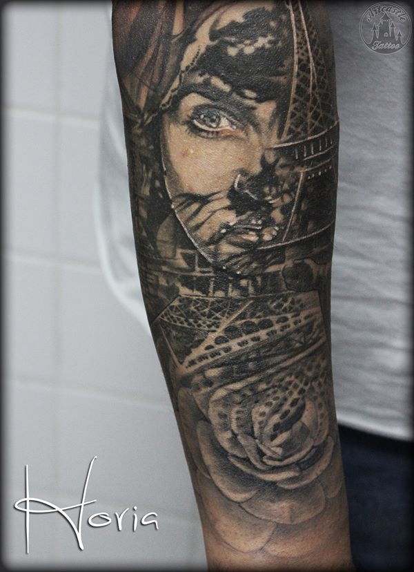 ArtCastleTattoo Tattoo ArtiestHoria Sleeve details womans face portrait with rose and Eiffel Tower tattoo black n grey healed Sleeves