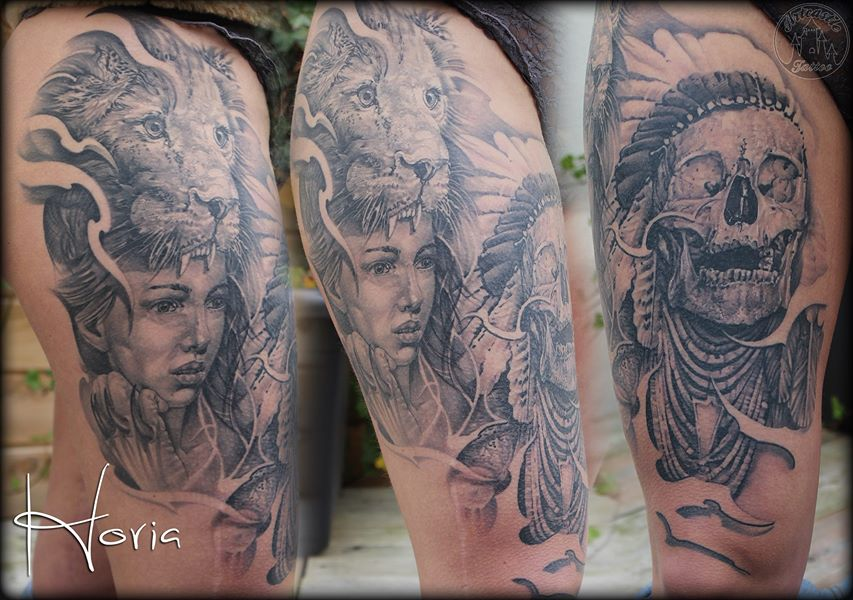 ArtCastleTattoo Tattoo ArtiestHoria Woman portrait lion head dress and native american indian skull tattoo black n grey realism on upper leg healed Black n Grey