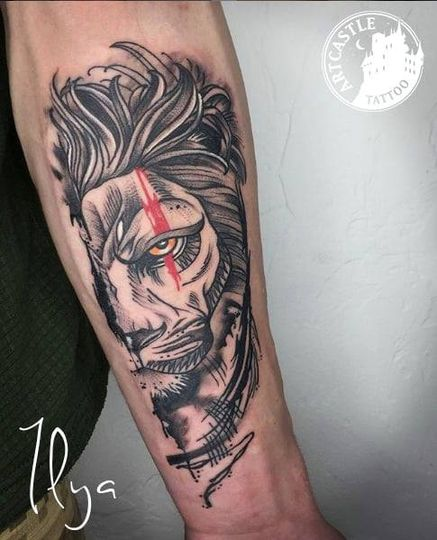ArtCastleTattoo Tattoo ArtiestIlya Lion on arm Blackwork