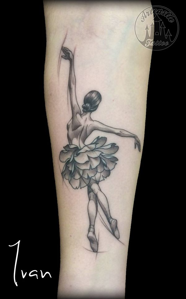 ArtCastleTattoo Tattoo ArtiestIvan Dancer on lower arm. Black n grey Black n grey