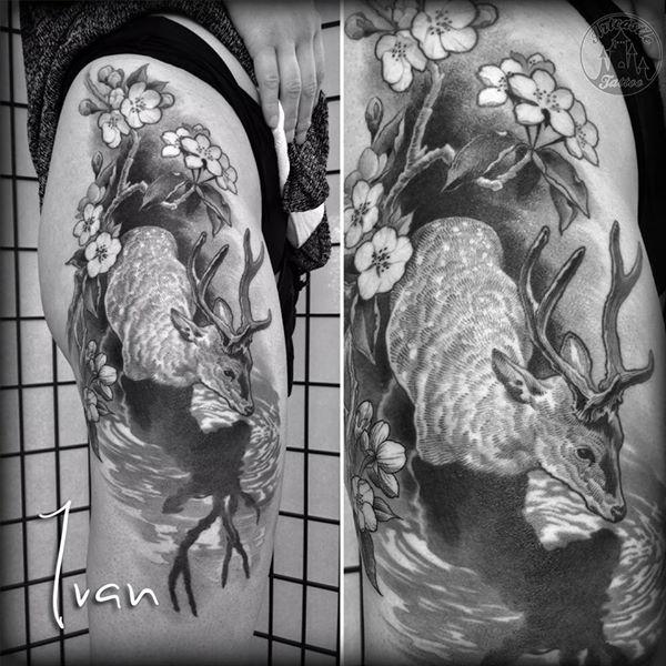 ArtCastleTattoo Tattoo ArtiestIvan Deer on hip. Illustratief Illustrative