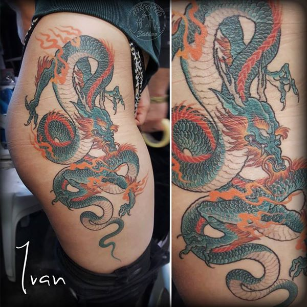 ArtCastleTattoo Tattoo ArtiestIvan Healed dragon on hip. Japans Japanese