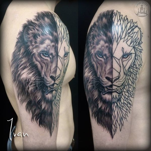 ArtCastleTattoo Tattoo ArtiestIvan half realistic half geomtric lion on shoulder. Black n grey Black n grey