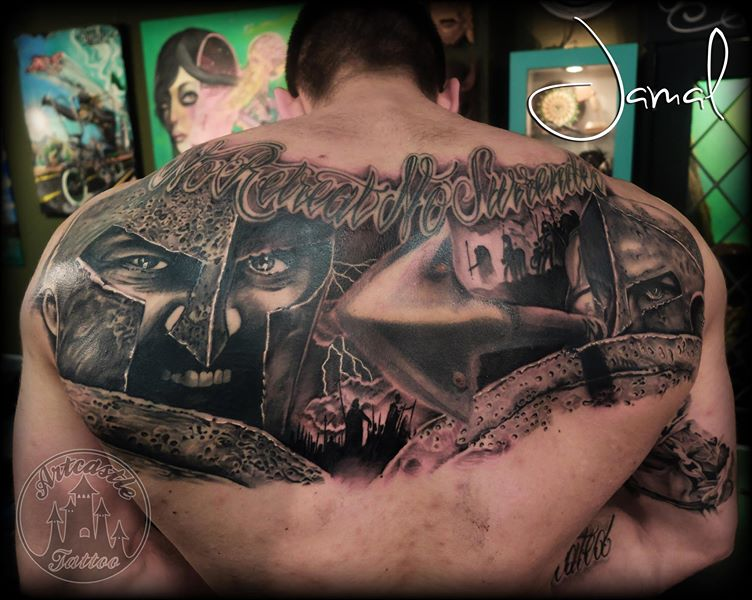 ArtCastleTattoo Tattoo ArtiestJamal 300 Backpiece Black n Grey