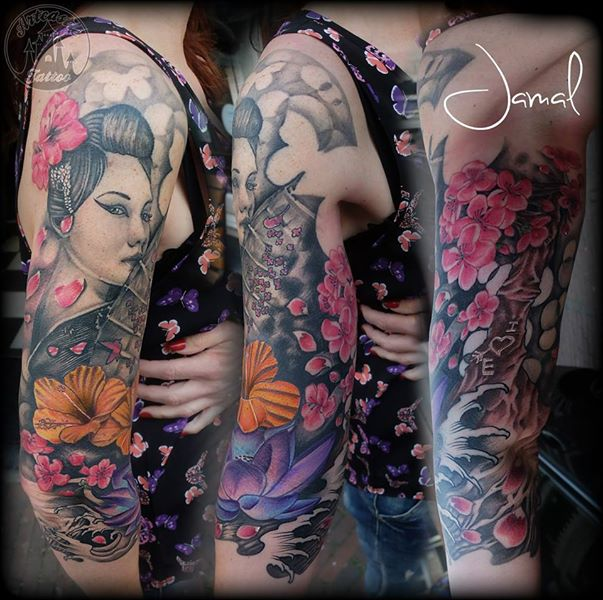 ArtCastleTattoo Tattoo ArtiestJamal 34 Geisha sleeve with Flowers in color Sleeves