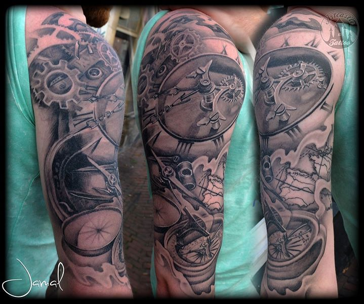 ArtCastleTattoo Tattoo ArtiestJamal Clockwork Map and Compass blend Sleeves