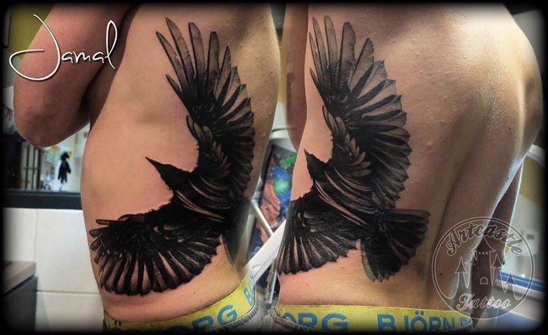 ArtCastleTattoo Tattoo ArtiestJamal Crow Black n grey