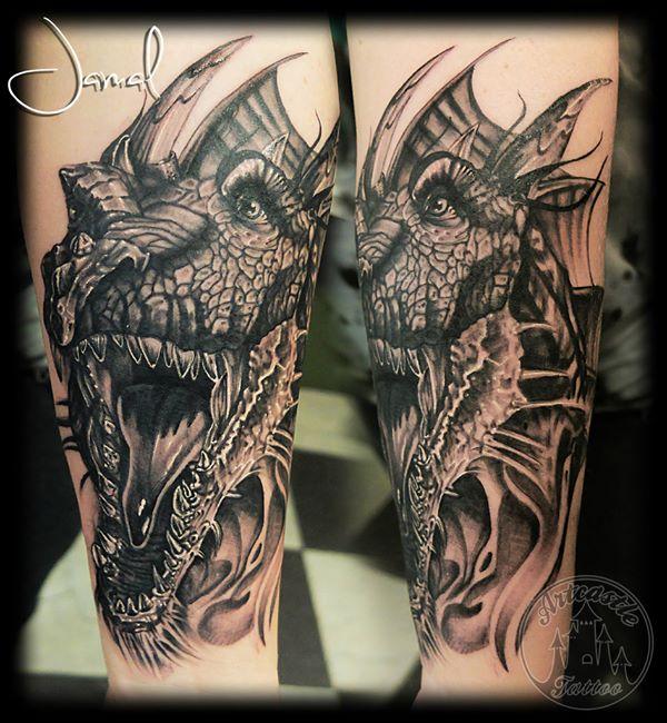 ArtCastleTattoo Tattoo ArtiestJamal Dragon Black n Grey