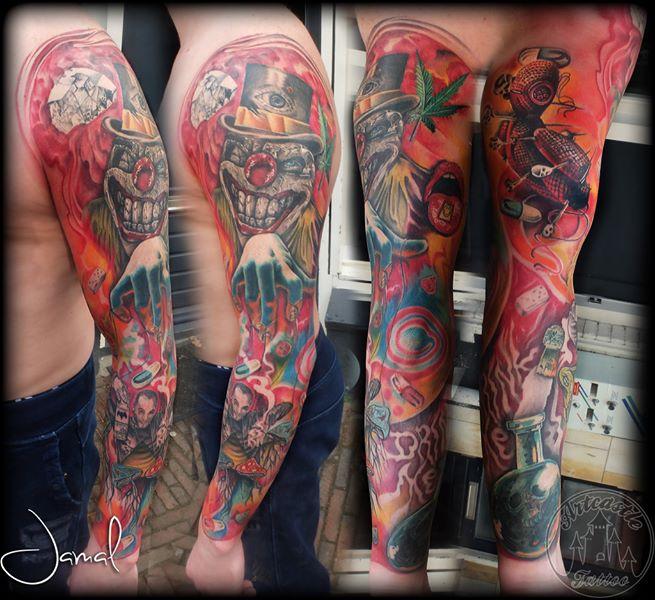 ArtCastleTattoo Tattoo ArtiestJamal Full Color Mind ControlDrugs Sleeve Sleeves