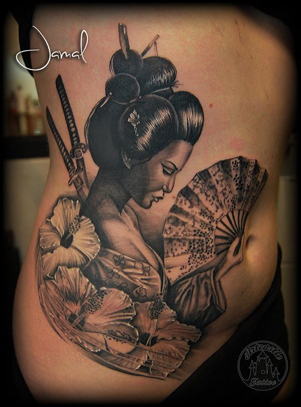 ArtCastleTattoo Tattoo ArtiestJamal Geisha with Flowers Swords and Fan Black n Grey