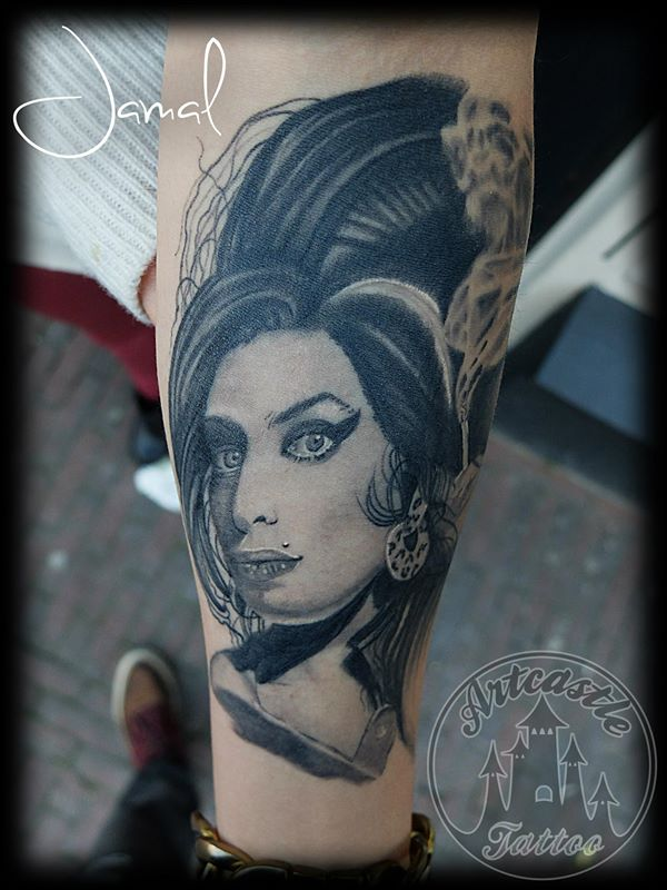 ArtCastleTattoo Tattoo ArtiestJamal Healed Amy Winehouse Small one Portraits