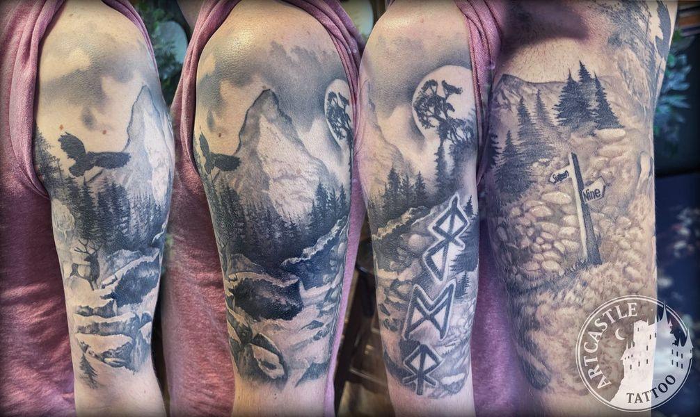 ArtCastleTattoo Tattoo ArtiestJamal Healed Mountain Nature Black n Grey