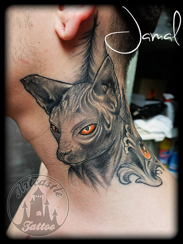 ArtCastleTattoo Tattoo ArtiestJamal Healed Sphinx Cat Black n Grey