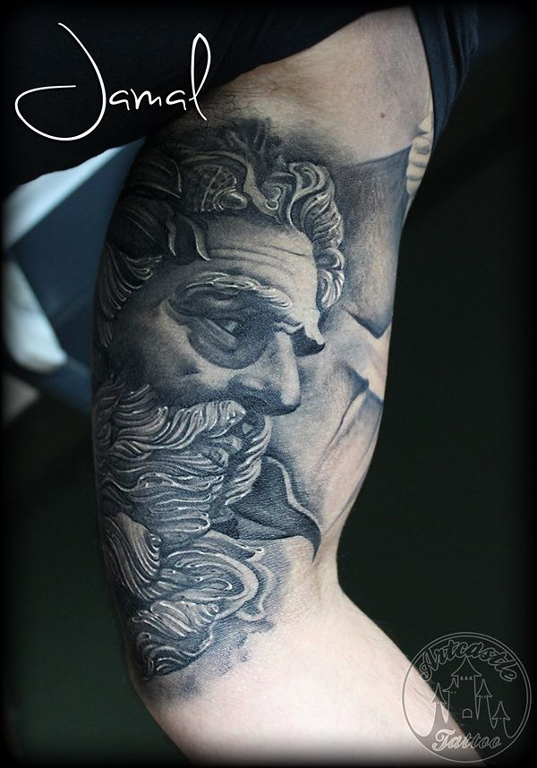 ArtCastleTattoo Tattoo ArtiestJamal Healed inner arm portrait of Zeus greek god Black n Grey