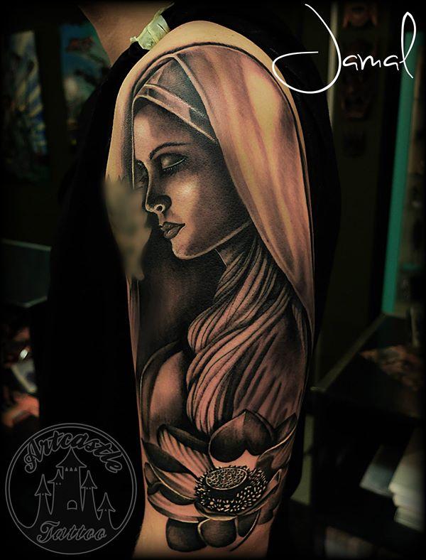 ArtCastleTattoo Tattoo ArtiestJamal Hooded Girl Half Sleeve Sleeves
