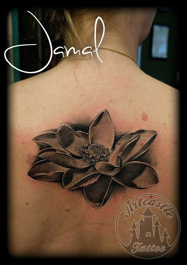 ArtCastleTattoo Tattoo ArtiestJamal Lotus Flower Black n Grey