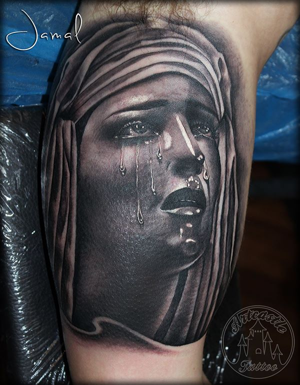 ArtCastleTattoo Tattoo ArtiestJamal Maria protrait with tears Black n Grey