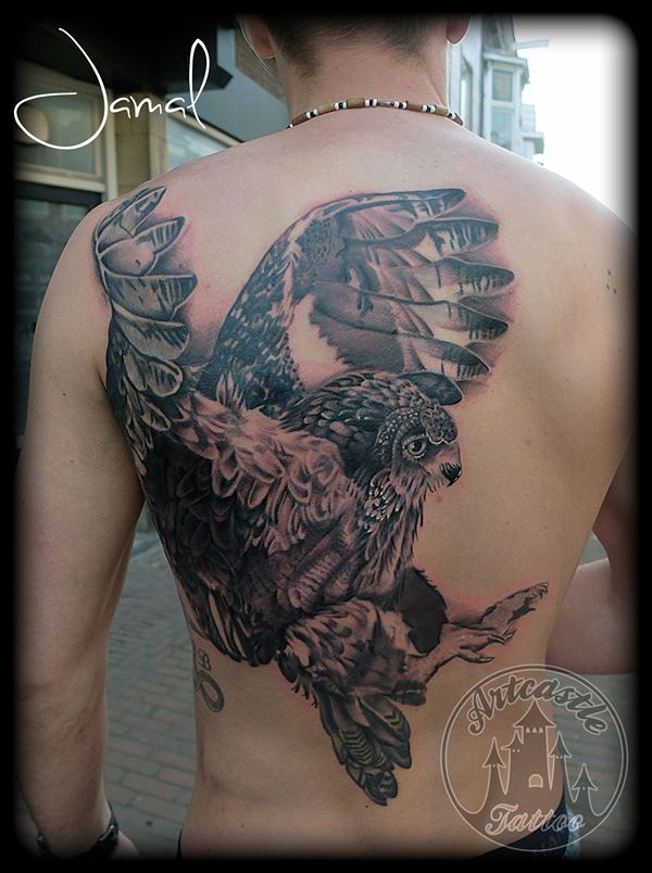 ArtCastleTattoo Tattoo ArtiestJamal Owl Backpiece Black n Grey