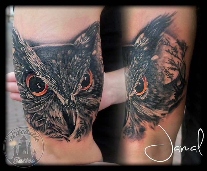 ArtCastleTattoo Tattoo ArtiestJamal Owl Black n Grey