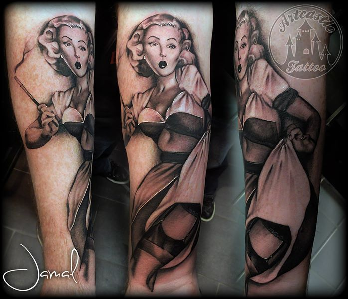 ArtCastleTattoo Tattoo ArtiestJamal Pin up Black n Grey