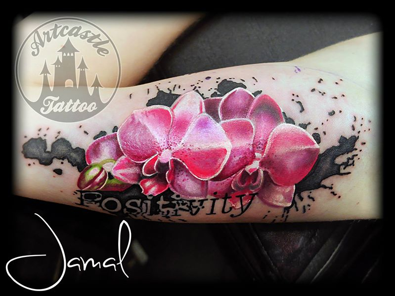 ArtCastleTattoo Tattoo ArtiestJamal Pink Orchids Color