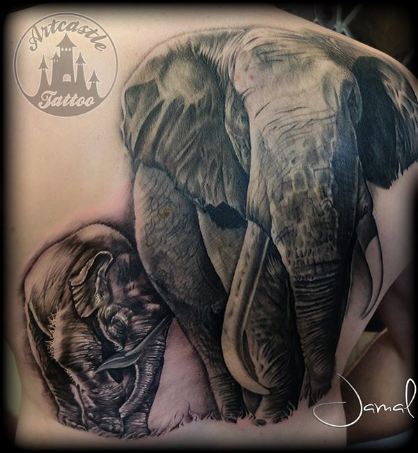 ArtCastleTattoo Tattoo ArtiestJamal Realistic Elephant Backpiece Tattoo Black n Grey